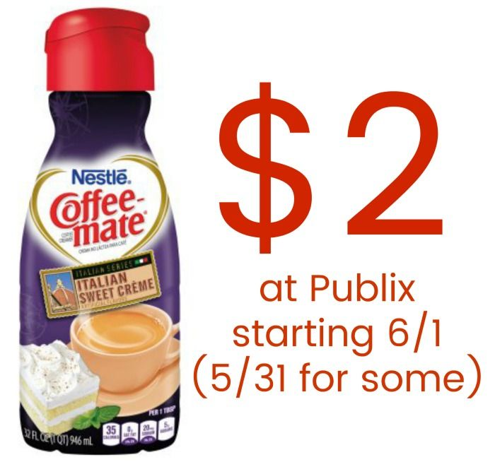 We have a new Coffee-mate coupon to go with the sales at Publix. Now if you can wait to grab your bottles you'll score a super deal later this week. Either