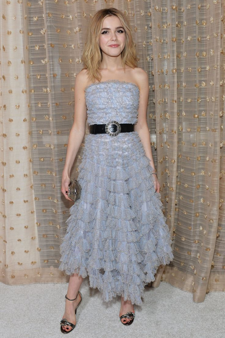 23 February Kiernan Shipka was picture perfect in an ankle-length, strapless dress for the occassion.   - HarpersBAZAAR.co.uk