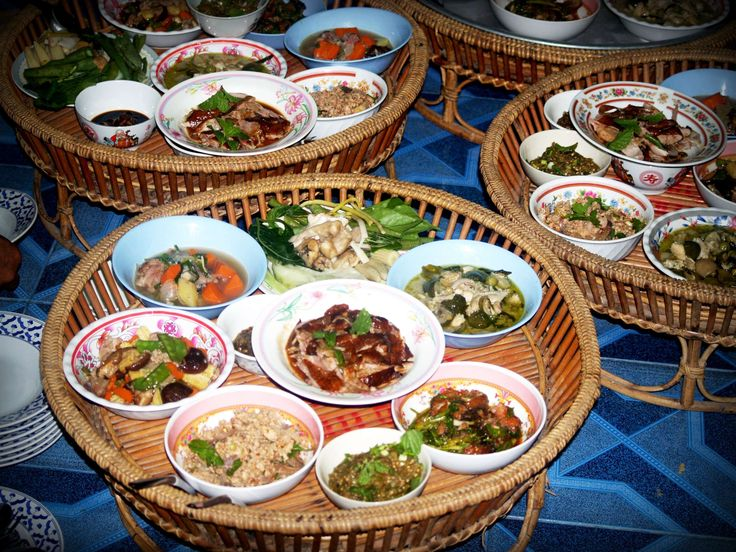 #asia #basket #bowls #buffet #cuisine #delicious #dinner #dishes #food #meal #plates #pork #set #table #tasty #vegetables #wooden