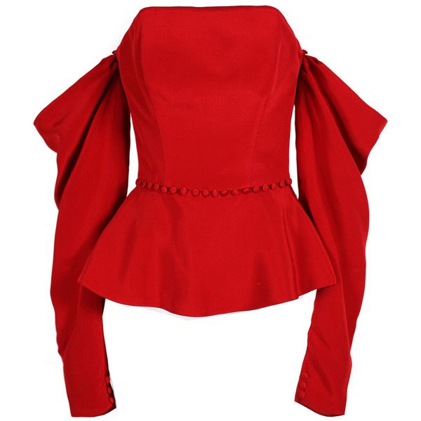 Thai Nguyen Atelier The Empress Strapless Top ($700) ❤ liked on Polyvore featuring tops, red, red long sleeve top, red top, strapless top, peplum top and red peplum top
