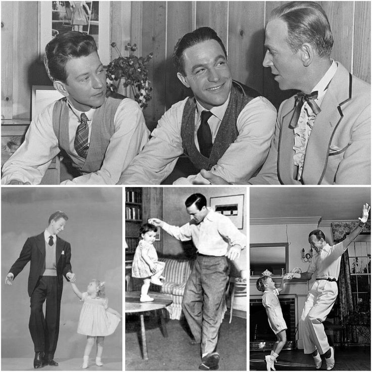 Donald O'Connor, Gene Kelly, and Fred Astaire perform some dance moves with their children.
