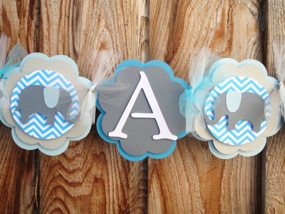 Its a boy Elephant chevron banner baby Shower by Wildflowercraft, $20.25