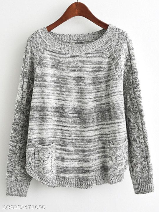 Round Neck Patchwork Brief Plain Pockets Long Sleeve Knit Pullover