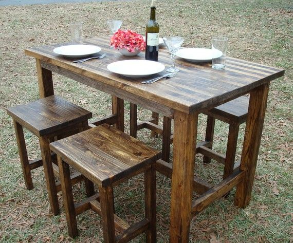 Bar Table and Stools, Pub Table, Wood Bar Table.  This beautiful!  I want it in my home.  :)