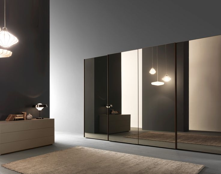 Presotto wardrobe with glass sliding doors bronze for Glass mirror sliding doors
