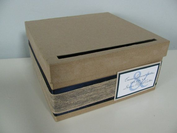 Rustic Wedding Card Box Navy Blue and Burlap by astylishdesign, $27.00