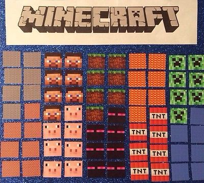70 Minecraft stickers Build Your Own Mine Craft Party Favor Bags Game Birthday
