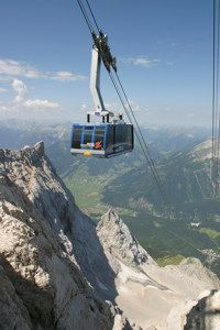Zugspitze,  Germany.  Cable car to the top of the highest mountain in Germany - spectacular views of Austria, Germany, and Switzerland.