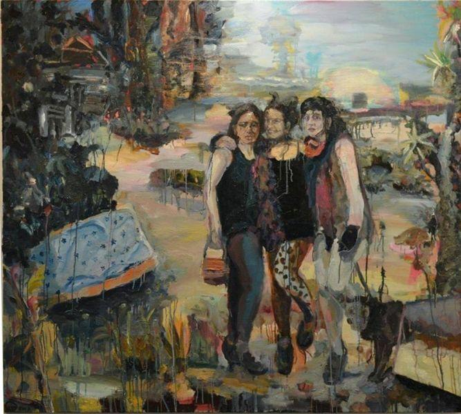 die drei gracien, 2017, Öl auf Leinwand, 200 x 180 cm, Michaela Helfrich Galerie Berlin
