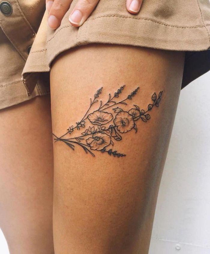 Flowers Poppies White Background Thigh Tattoos Beige Denim Shorts In 2020 Thigh Tattoos Women Flower Thigh Tattoos Thigh Tattoo