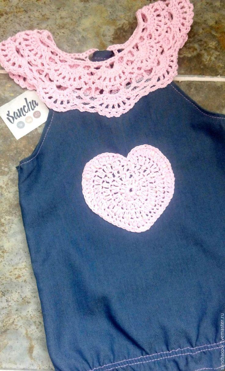 Купить Джинсовый топ, блузка, кофта для девочки - топ детский, для девочки, джинсовый, джинсовая блузка