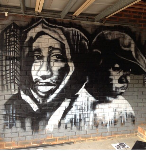 Tupac and biggie portraits aerosol paint