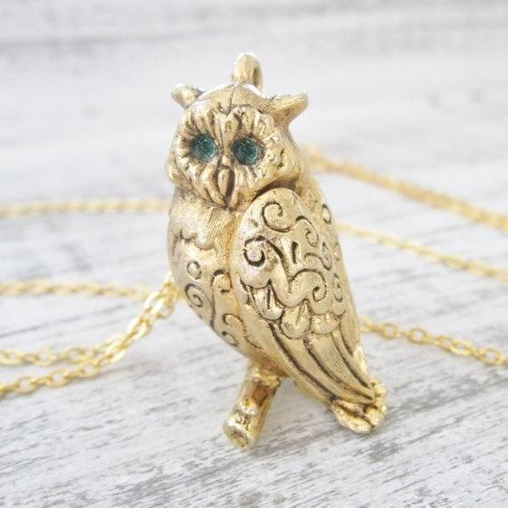 Bronze Owl Minimal Necklace Simple Owl Sparkle Necklace