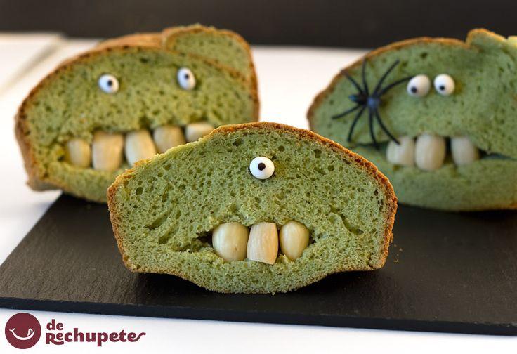 Bizcocho Frankenstein. Receta Halloween  http://www.recetasderechupete.com/bizcocho-frankenstein-receta-halloween/11654/ #Halloween #derechupete
