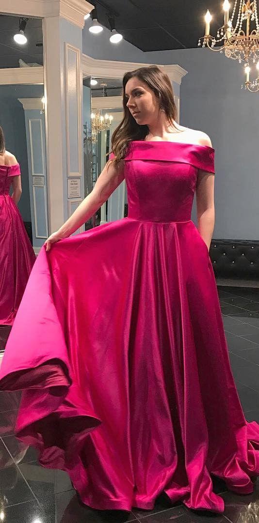 7eed5da5771f 2018 prom dress, hot pink long prom dress, off the shoulder prom dress, hot  pink prom dress with pockets