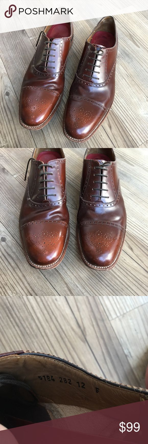 Grenson England Cap Toe Oxfords Pre-owned Men's Grenson Cap Toe Oxford Dress Shoes Grenson England Oxfords Retail Price $325 Style: Matthew Size UK 12 F - please see sizing chart photo in listing - Says US size 13 Brown Barely worn No box or bag Slight signs of being worn as only used a few times Calf Leather Goodyear heels Non-smoking home Grenson Shoes Oxfords & Derbys