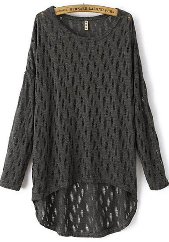 Dark Grey Patchwork Hollow-out Long Sleeve Sweater
