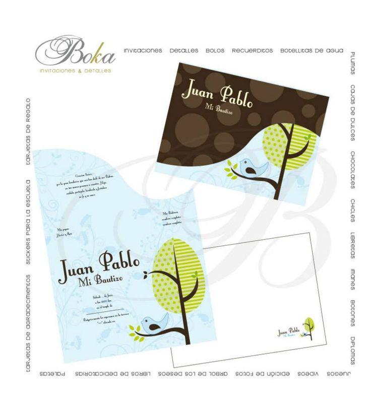 Invitacion bautizo #bautizo #invitaciones #modernas #pajaritos #niño #originales #diseños invitaciones  www.bo-kasociales.com