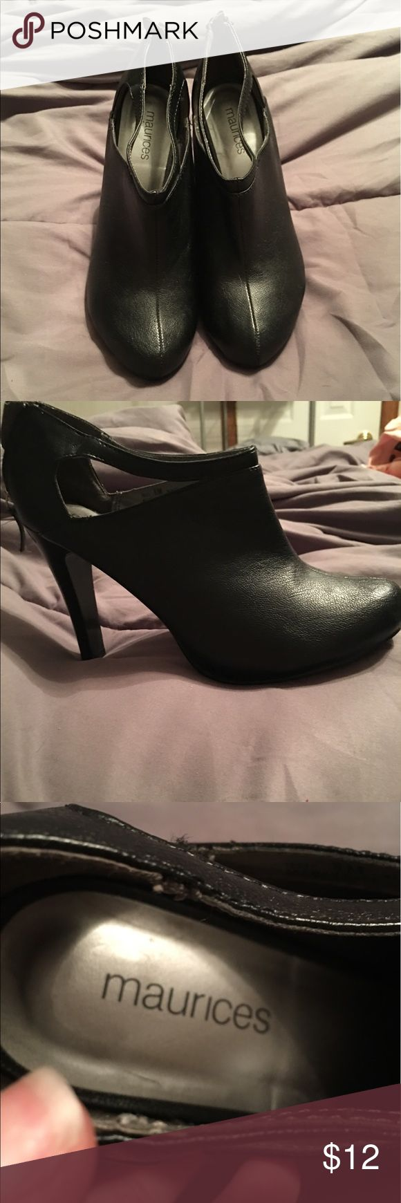 Black zip up cover toed heels Super cute heels to wear with anything. A little worn but still have lots of life left in them. Comfy too. 2-3 inch heels Maurices Shoes Heels