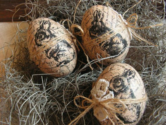 Easter Eggs Rustic Decoration Set Of 3 By Mydaisy2000 On