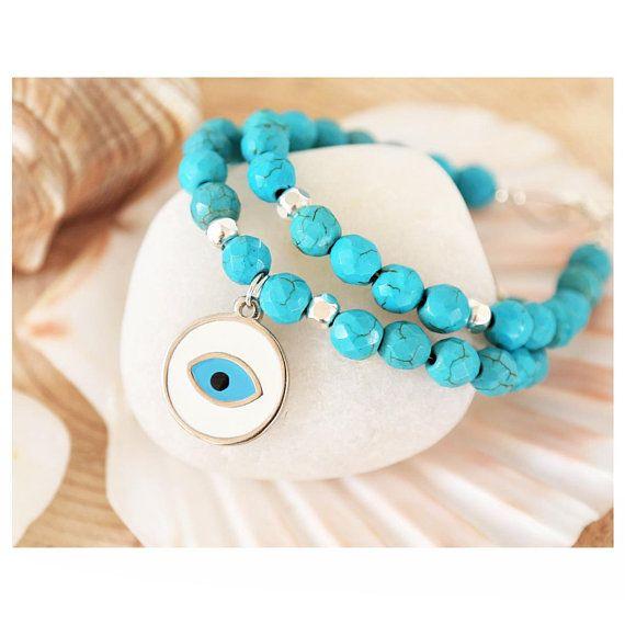 greek jewelry, turquoise bracelet, turquoise gemstone, greek evil eye, semi precious stone jewelry, gemstone bracelet, evil eye bracelet