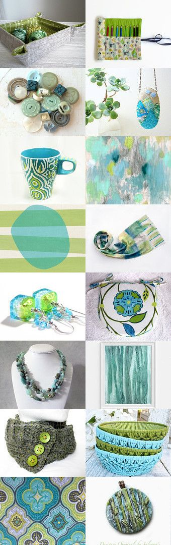 Aqua Lime Delight by Bev on Etsy--Pinned+with+TreasuryPin.com #green #blue #aqua #lime #etsytreasury