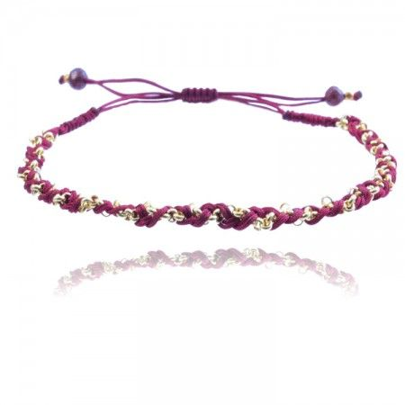 Twisted Cord and Rollo Chain Bracelet: Red