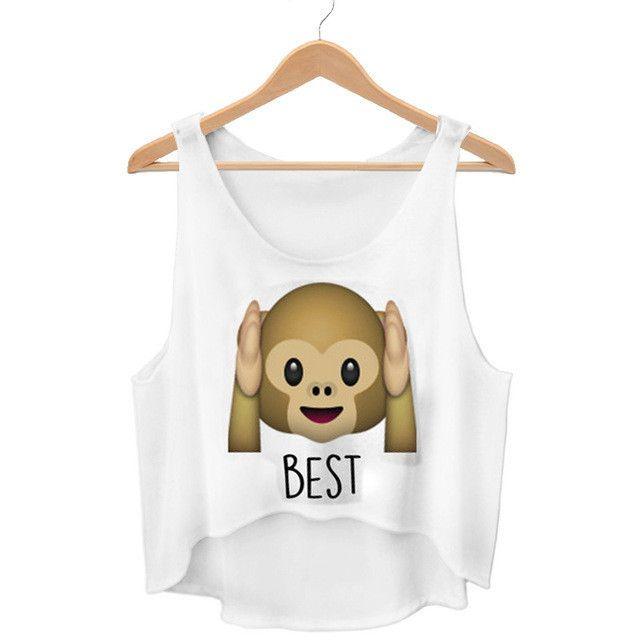 Dingtoll New Cute Monkey Emoji Crop Top Harajuku Kwaii Best Friends Forever Summer Funny Femme Tops WCT27