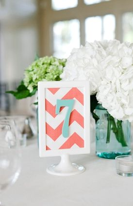 chevron, Summer, beach, blue, centerpieces, coral, decor, decoracion, decorations, diy, numbers, palette, reception, table, photo, wedding, Stevensville, Maryland