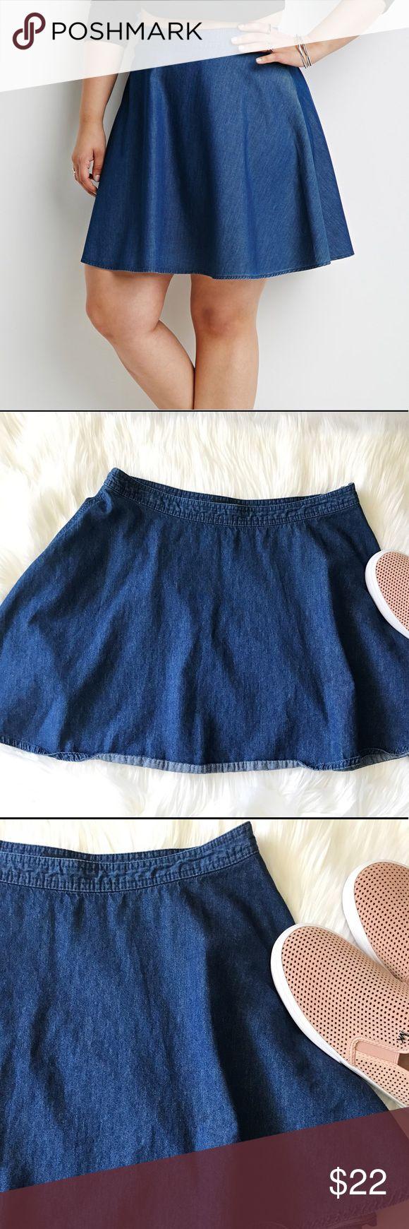 """Forever 21 Blue Skater Skirt Forever 21 Blue Denim Skater Skirt // size L // """"14.5 L // Excellent condition Forever 21 Skirts Mini"""