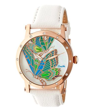 Look what I found on #zulily! Rose Goldtone & White Isabella Leather-Strap Watch #zulilyfinds