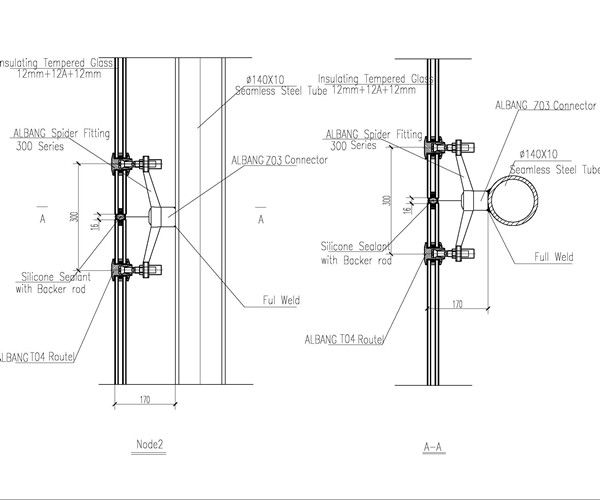 Spider Glass System Details : Steel structure design with spider fitting details