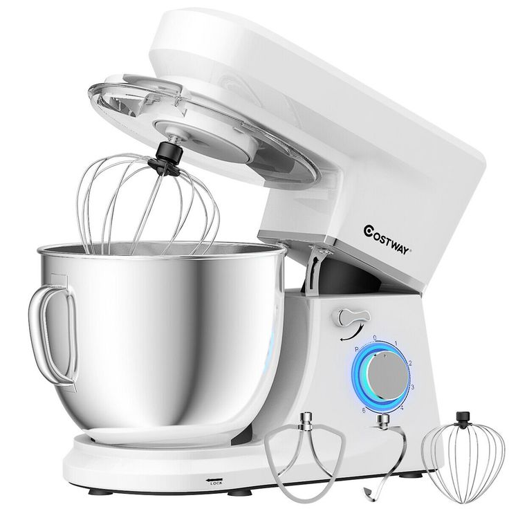 660 W 7.5 Quart 6 Speed Tilt-Head Stand Mixer-White