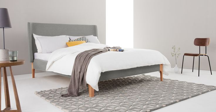 Roscoe Double Bed, Grey from Made.com. Simple and sophisticated, the Roscoe bed is perfect for breathing new life into your bedroom. Upholstered in ..