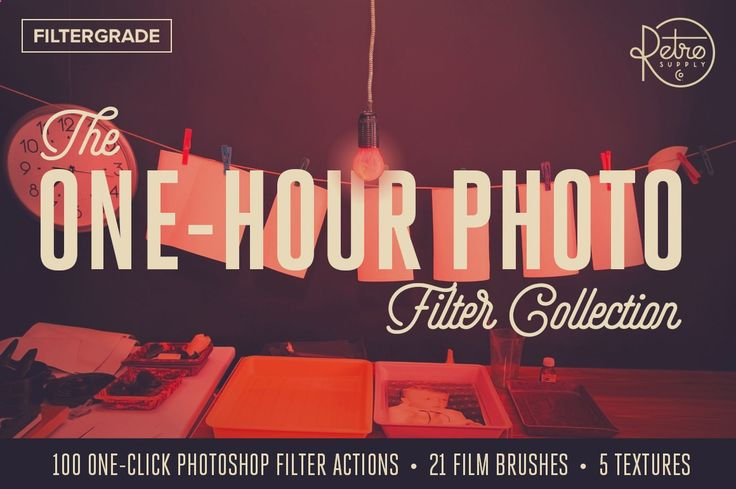 The One-Hour Photo Filter Collection. 100  ANALOG PHOTOSHOP FILTERS HAND-PICKED BY A PROFESSIONAL PHOTOSHOP FILTER EXPERT AND A VINTAGE CAMERA ENTHUSIAST.