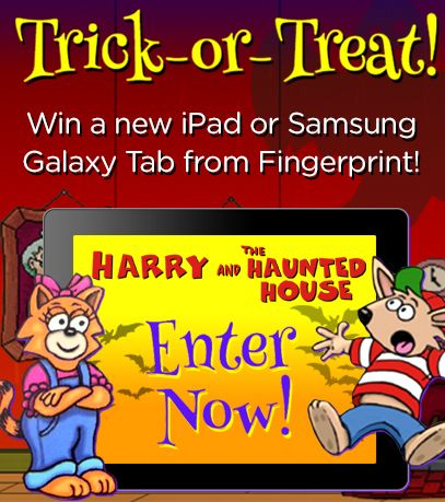 """To celebrate Halloween and the launch of """"Harry and the Haunted House"""" on Fingerprint, we're giving away a new Apple iPad or a new Samsung Galaxy Tablet to two lucky winners! #Giveaway #EdTech #Halloween"""