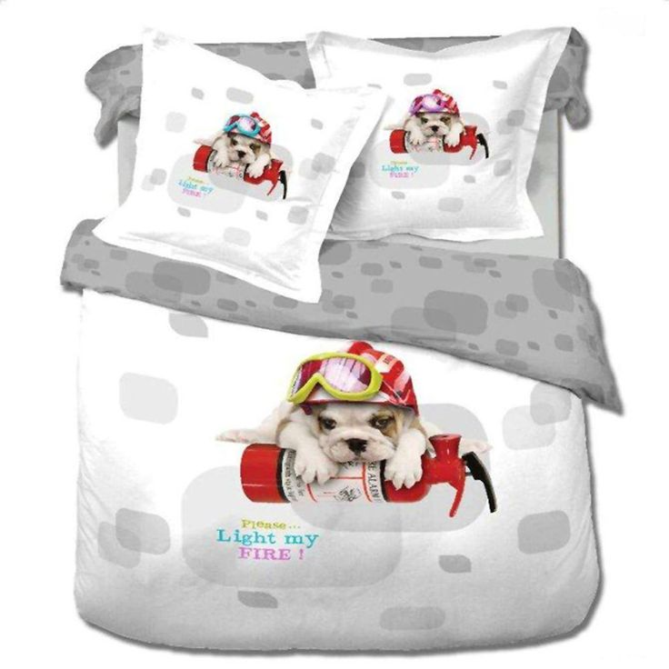Twin Size Duvet Cover Sheets Set, Dog