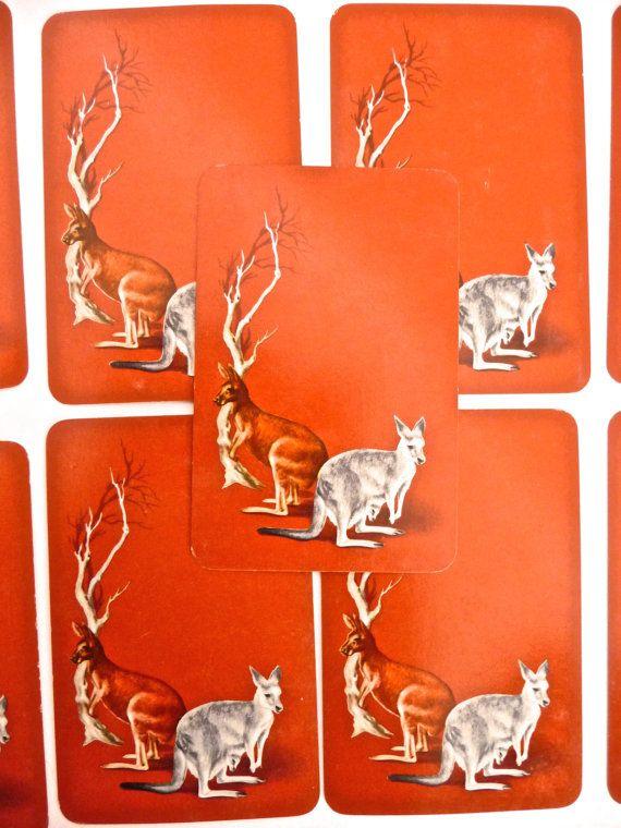 Kangaroo Picture Playing Cards Australiana Vintage