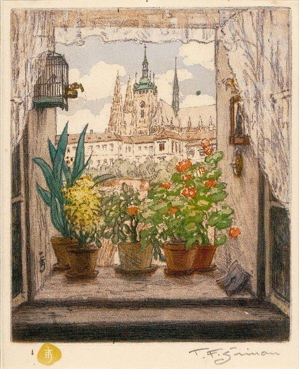 by Tavik František Šimon (Czech 1877-1942)....coloured etching