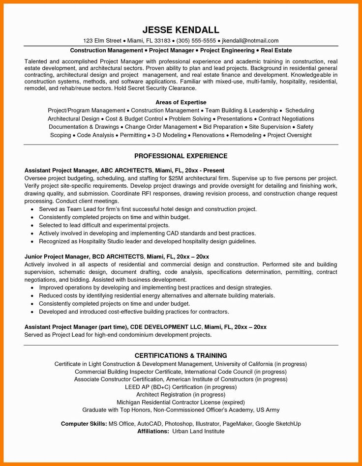 Construction Project Manager Resume Sample Lovely 9 10
