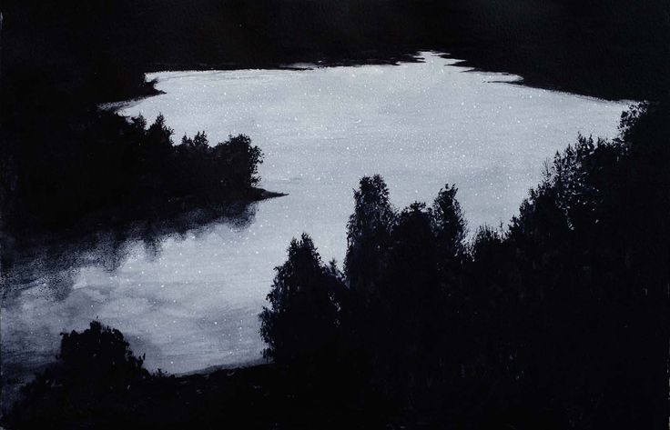Rafal Borcz, Lake, gouache on paper, art, painting, modern art, landscape, modern lanscape, black and white
