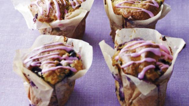 Blåbær-muffins med hvid chokolade