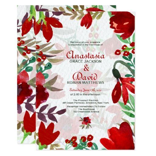 Red Watercolor Tulips Invitation