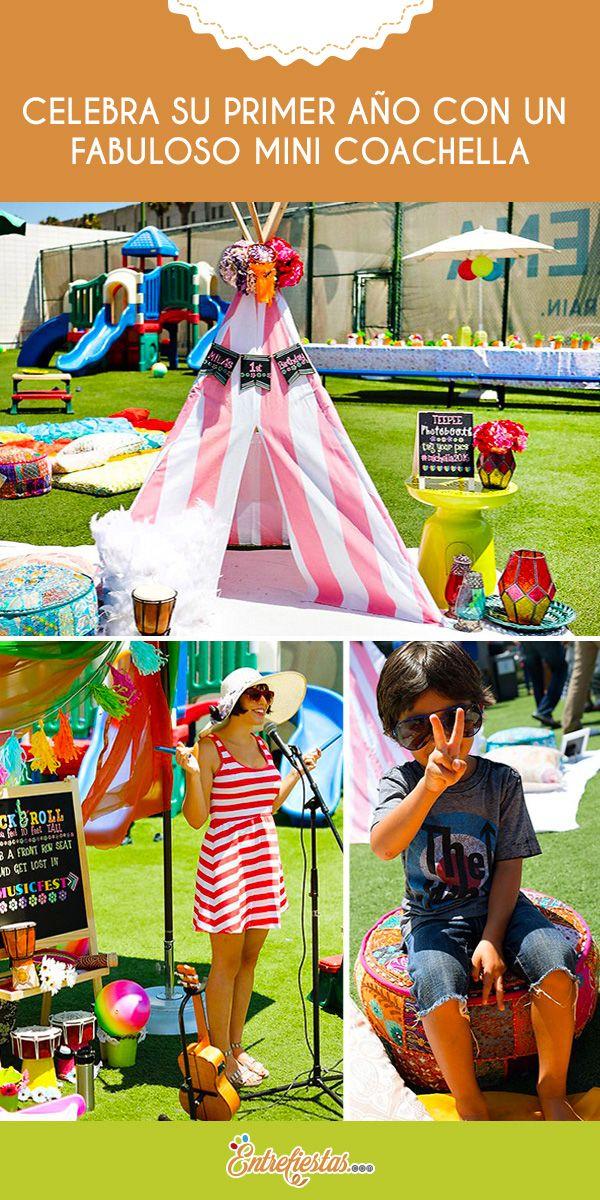 Inspírate en el singular festival de música californiano Coachella para celebrar el primer cumpleaños de tu princesa y pasa un día inolvidable lleno de música, arte y color. Colma su fiesta de atrapasueños, tipis y flores para crear un auténtico festejo bohemio.