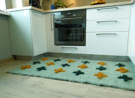 Mint Rug Runner With Green Yellow Crosses 32x60 Etsy Mint Rug Rugs Rug Runner