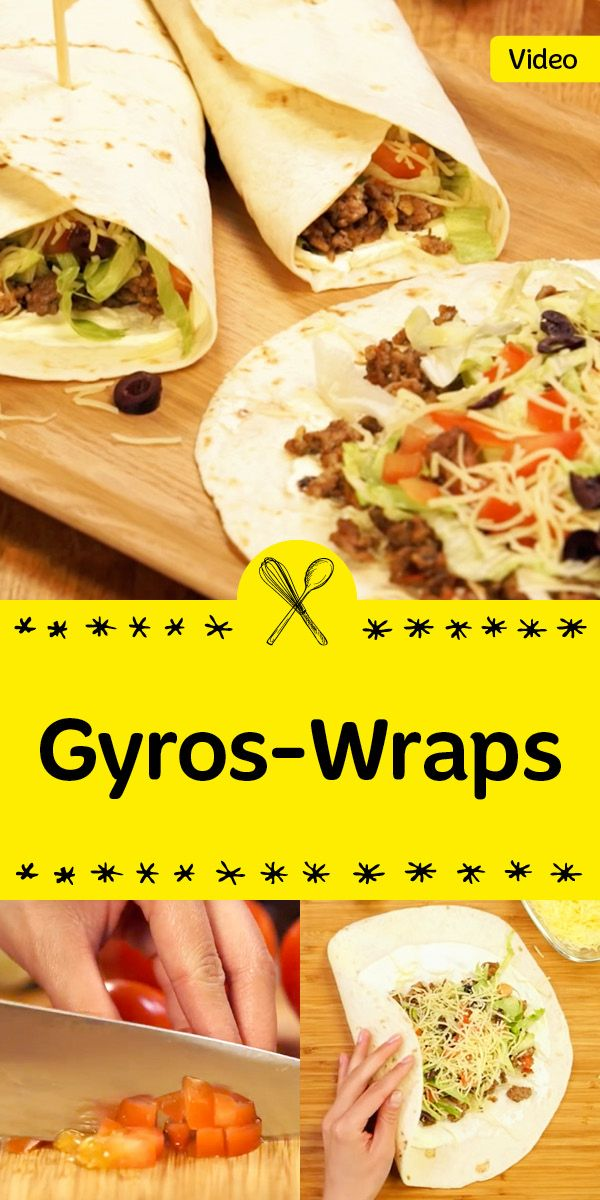 Diese Gyros-Wraps werden dich begeistern! Die köstliche Füllung besteht aus Hackfleisch, Käse, Tomaten & Oliven, einfach lecker.