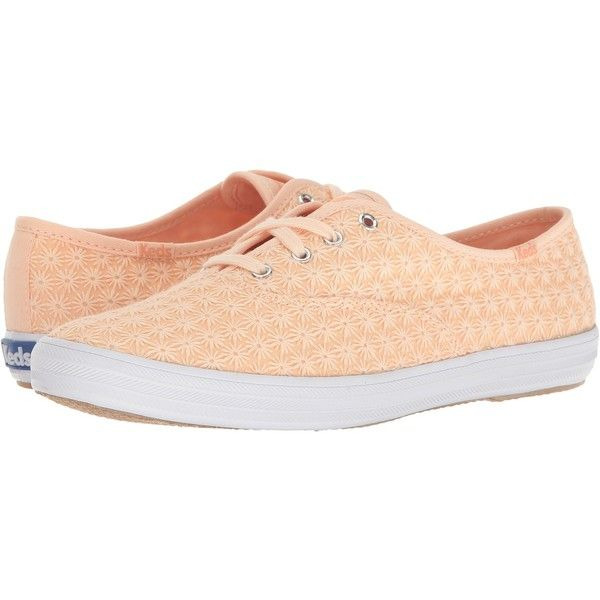 Keds Champ Mini Daisy (Peach) Women's Shoes ($38) ❤ liked on Polyvore featuring shoes, orange, peach shoes, keds shoes, keds footwear, macrame shoes and mini shoes