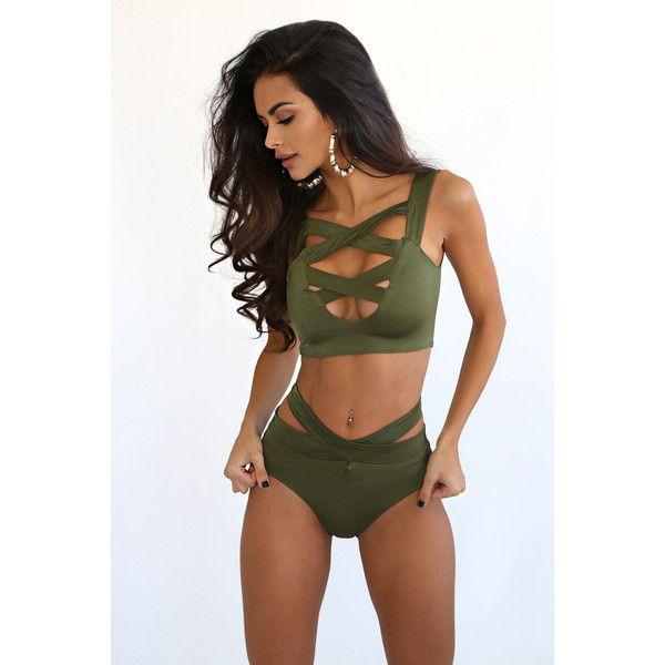 Brazil Khaki Multiway Strap Bikini ($100) ❤ liked on Polyvore featuring swimwear, bikinis, bikini swim wear, two piece swimwear, bikini two piece, bikini swimwear and 2 piece bikini