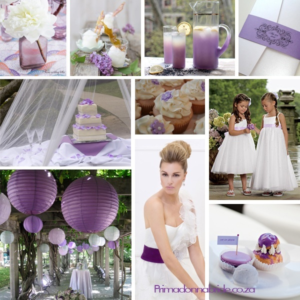 Wedding colours: Purple, white and silver - Primadonna Bride