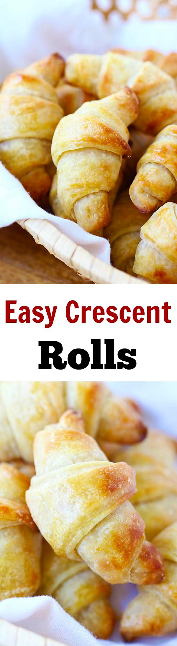 Crescent Rolls – Easy homemade crescent rolls recipe that anyone can make. Flaky, buttery, and fluffy, these rolls are the best!! | rasamalaysia.com